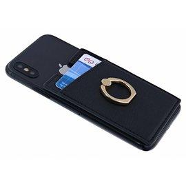 Ntech Ntech Peel & Stick universele Smartphone Pocket kaarthouder met een ringstandaard Zwart