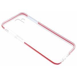 Ntech Ntech Samsung Galaxy J6+ (Plus) Rood &Transparant Anti Drop Shock TPU Hoesje