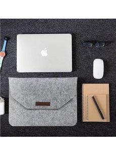Merkloos Macbook 15.4 inch laptop Flip Case van Wolvilt - Universeel laptoptas Grijs