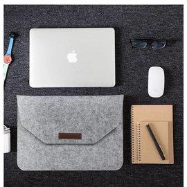 Ntech Ntech Macbook 15.4 inch laptop Flip Case van Wolvilt  - Universeel laptoptas Grijs