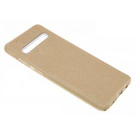 Ntech Ntech Samsung Galaxy S10 Goud Glitter TPU Back Cover Hoesje