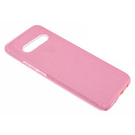 Ntech Ntech Samsung Galaxy S10 Roze Glitter TPU Back Cover Hoesje