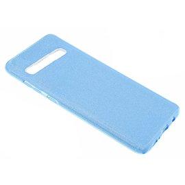 Ntech Ntech Samsung Galaxy S10 Blauw Glitter TPU Back Cover Hoesje