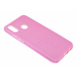 Ntech Ntech Huawei P Smart 2019 Roze Glitter TPU Back Cover Hoesje