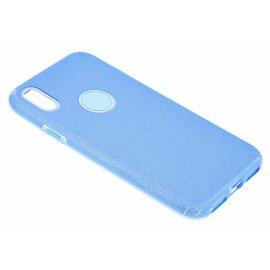 Merkloos Huawei P Smart+ ( Plus ) Blauw Glitter TPU Back Cover Hoesje