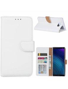 Ntech Ntech Hoesje voor Sony XA3 Ultra portemonnee hoesje / met opbergvakjes Wit