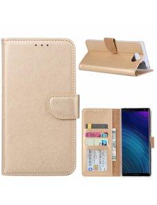 Ntech Ntech Hoesje voor Sony XA3 Ultra portemonnee hoesje / met opbergvakjes Goud