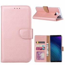 Ntech Ntech Hoesje voor Sony XA3 Ultra portemonnee hoesje / met opbergvakjes Rose Goud