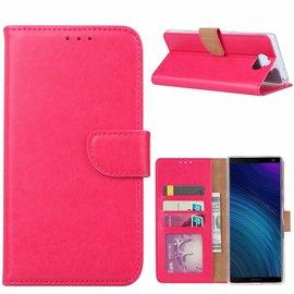 Ntech Ntech Hoesje voor Sony XA3 Ultra portemonnee hoesje / met opbergvakjes Pink