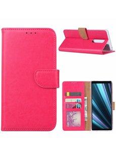 Ntech Ntech Hoesje voor Sony Xperia 1 portemonnee hoesje / met opbergvakjes Roze
