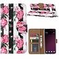 Ntech Ntech Samsung Galaxy S10+ Plus Vintage Roses & Stripes Design Boek Hoesje Met Pasjesruimte & flapje