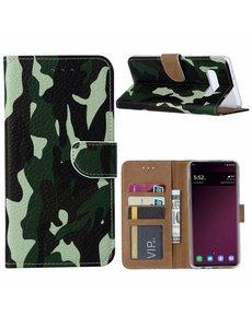 Ntech Ntech Samsung Galaxy S10+ Plus Camouflage Boek hoesje met Pasjesruimte