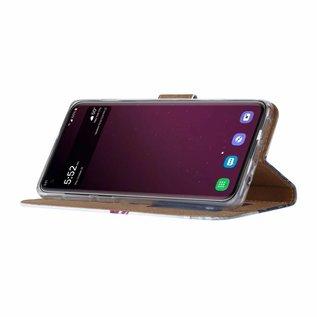 Ntech Ntech Samsung Galaxy S10+ Plus Boeddha & Bloem Design Boek Hoesje Met Pasjesruimte & Magneet flapje