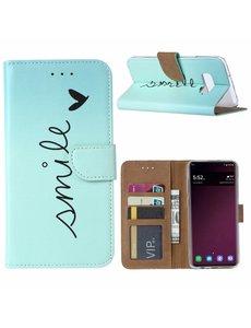 Ntech Ntech Samsung Galaxy S10e Smiley Design Booktype Kunstleer Hoesje Met Pasjesruimte