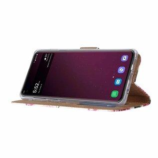Ntech Ntech Samsung Galaxy S10E Vintage Roses & Stripes Design Boek Hoesje Met Pasjesruimte & flapje