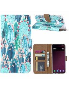 Ntech Ntech Samsung Galaxy S10e Cactus & Bloemen Boek hoesje met Pasjesruimte