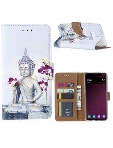 Ntech Ntech Samsung Galaxy S10e Boeddha & Bloem Design Boek hoesje met pasjesruimte