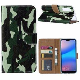 Ntech Ntech Huawei P30 Camouflage Design Boek Hoesje Met Pasjesruimte & flapje
