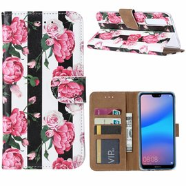 Ntech Ntech Huawei P30 Vintage Roses & Stripes Design Boek Hoesje Met Pasjesruimte & flapje