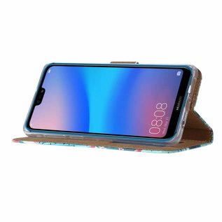 Ntech Ntech Huawei P30 Cactus & Bloemen Design Boek Hoesje Met Pasjesruimte & flapje