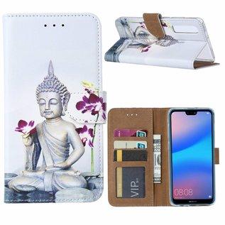 Ntech Ntech Huawei P30 Boeddha & Bloem Design Boek Hoesje Met Pasjesruimte & Magneet flapje