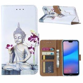 Ntech Ntech Huawei P30 Pro Boeddha & Bloem Design Boek Hoesje Met Pasjesruimte & Magneet flapje