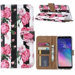 Ntech Ntech Samsung Galaxy A6 (2018) Vintage Roses & Stripes Design Boek Hoesje Met Pasjesruimte & flapje