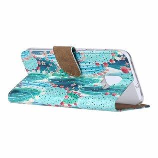 Ntech Ntech Samsung Galaxy A6 (2018) Cactus & Bloemen Design Boek Hoesje Met Pasjesruimte & flapje