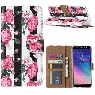 Ntech Ntech Samsung Galaxy A6+ Plus (2018) Vintage Roses & Stripes Design Boek Hoesje Met Pasjesruimte & flapje