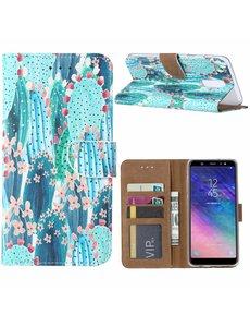 Ntech Ntech Samsung Galaxy A6+ Plus (2018) Cactus & Bloemen Boek hoesje met Pasjesruimte