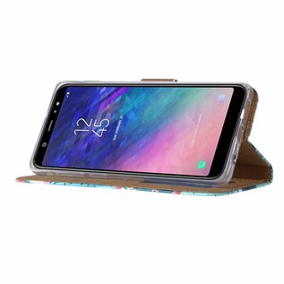 Ntech Ntech Samsung Galaxy A6+ Plus  (2018) Cactus & Bloemen Design Boek Hoesje Met Pasjesruimte & flapje