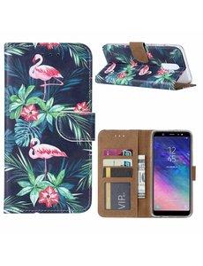 Ntech Ntech Samsung Galaxy A6+ Plus (2018) Flamingo Boek hoesje met Pasjesruimte
