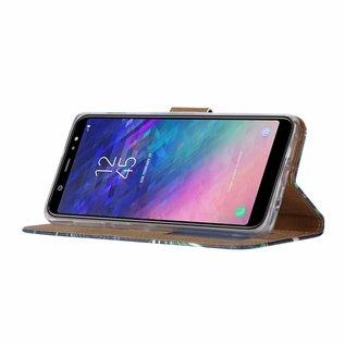Ntech Ntech Samsung Galaxy A6+ Plus (2018) Flamingo Design Boek Hoesje Met Pasjesruimte & flapje