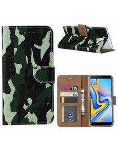 Ntech Ntech Samsung Galaxy J6+ Plus (2018) Camouflage Boek hoesje met Pasjesruimte