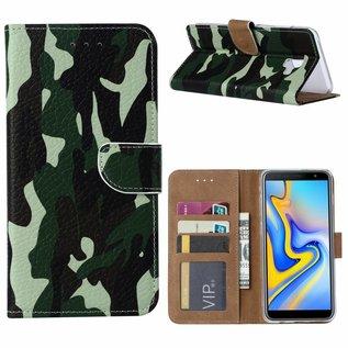 Ntech Ntech Samsung Galaxy J6+ Plus (2018) Camouflage Design Boek Hoesje Met Pasjesruimte & flapje