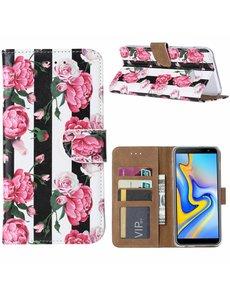 Ntech Ntech Samsung Galaxy J6+ Plus (2018) Vintage Roses & Stripes Boek hoesje met Pasjesruimte