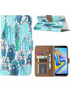 Ntech Ntech Samsung Galaxy J6+ Plus (2018) Cactus & Bloemen Boek hoesje met Pasjesruimte