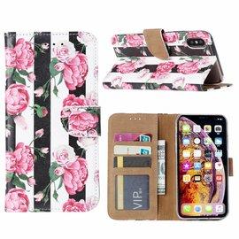 Ntech Ntech iPhone X / XS Vintage Roses & Stripes Design Boek Hoesje Met Pasjesruimte & flapje