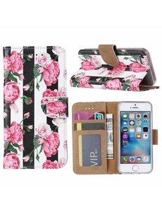 Ntech Ntech iPhone 5 / 5S / SE Vintage Roses & Stripes Boek hoesje met Pasjesruimte