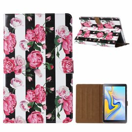 Ntech Ntech Samsung Galaxy Tab A 10.5 SMT590 2018 Vintage Roses & Stripe Design Booktype Kunstleer Hoesje
