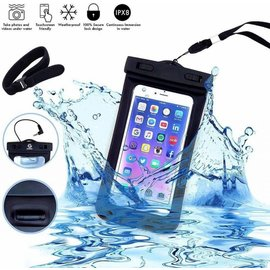 Merkloos Neon Multi Functional Waterdichte hoes Pouch Met headphone Audio Jack voor Samsung Galaxy S10e Zwart