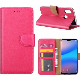 Ntech Ntech Hoesje voor Huawei P Smart (2019) Portemonnee / Booktype hoes / met opbergvakjes Roze