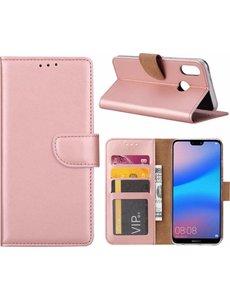 Ntech Ntech Hoesje voor Huawei P Smart (2019) Portemonnee / Booktype hoesje / met opbergvakjes Rose Goud