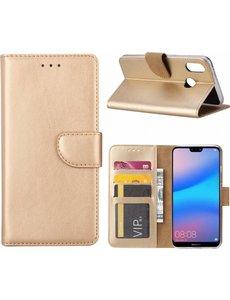 Ntech Ntech Hoesje voor Huawei P Smart (2019) Portemonnee / Booktype hoesje / met opbergvakjes Goud