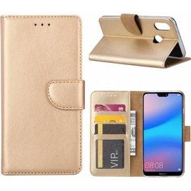 Ntech Ntech Hoesje voor Huawei P Smart (2019) Portemonnee / Booktype hoes / met opbergvakjes Goud