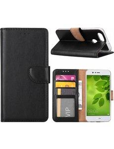 Ntech Ntech Huawei P Smart (2018) Portemonnee / Booktype hoesje met opbergvakjes Zwart