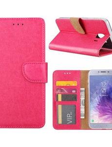 Ntech Ntech Samsung Galaxy J4+ (Plus) 2018 case Roze Portemonnee / Booktype hoesje met opbergvakjes