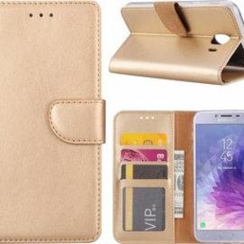 Ntech Ntech Samsung Galaxy J4+ (Plus) 2018 case Goud Portemonnee / Booktype hoes met opbergvakjes