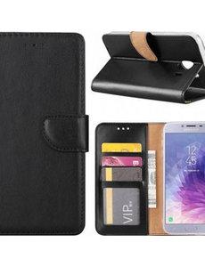 Ntech Ntech Samsung Galaxy J4+ (Plus) 2018 case Zwart Portemonnee / Booktype hoesje met opbergvakjes