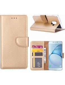 Ntech Ntech Samsung Galaxy A6+ (2018) case Goud Portemonnee hoesje met opbergvakjes